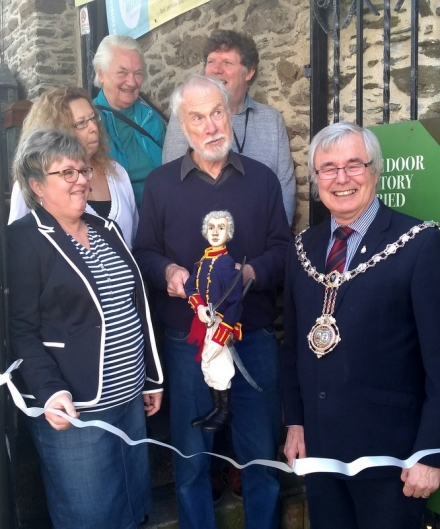 Re-opening of the Looe Old Guildhall Museum & Goal : Captain Bond Cutting the Tape to Open the Museum