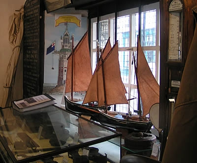 Model sailing barges on display at the museum