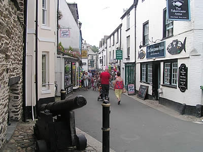Views of Higher Market Street, East Looe from the museum entrance