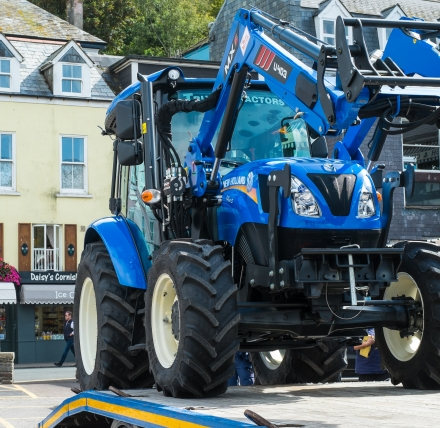 September 2019 News from the East Looe Town Trust: Tractor being off-loaded after delivery